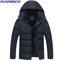 NORMEN Men S Casual Parkas Solid Fleece Winter Jacket Men Hooded Thick Warn Padded Overcoat Man