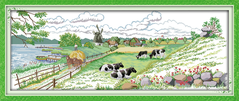 Home & Garden Tireless Pasture Scenery Counted Printed On Fabric Dmc 14ct 11ct Cross Stitch Kits,embroidery Needlework Sets,home Decor