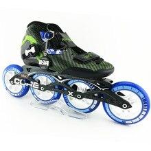 Patines en línea zapatos de patinaje de velocidad De fibra de Carbono profesional de las mujeres/de los hombres de carreras de patines en línea zapatos de patinaje hijo adulto patines patins de 4 rodas