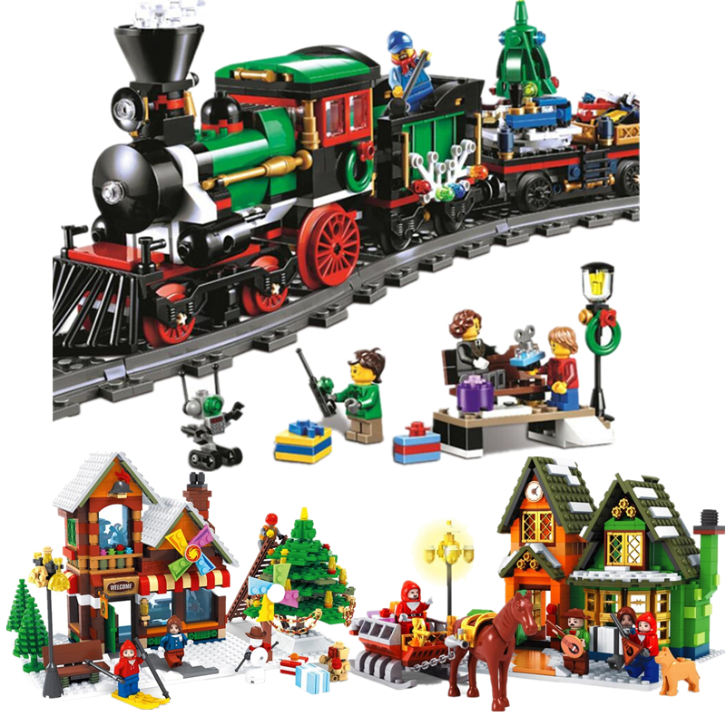 36001 The Christmas Winter Holiday Train Series Set Children Educational Building Blocks Bricks Toys Legoinglys Friends Gift clone 10254 lepin 36001 creative series the christmas winter holiday train set children building blocks bricks christmas gifts