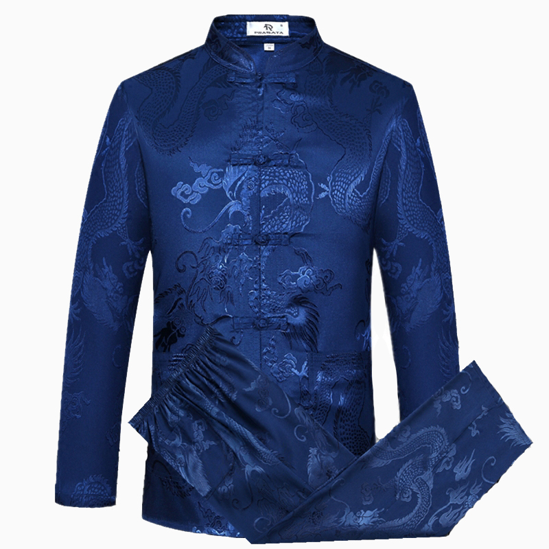 Blue Chinese Traditiona Men's Tang Suit Sets Long Sleeve Long Pants Dragon Kung Fu Suit High Quality Silk Wu Shu Tai Chi Sets