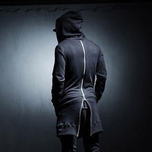 Autumn men's clothing back zipper personality loose decoration medium-long with a hood sweatshirt