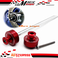 Para YAMAHA MT-07 FZ-07 MT07 FZ07 Red motocicleta CNC alumínio roda traseira eixo garfo bater Slider braço oscilante carretéis Cap parafuso estande