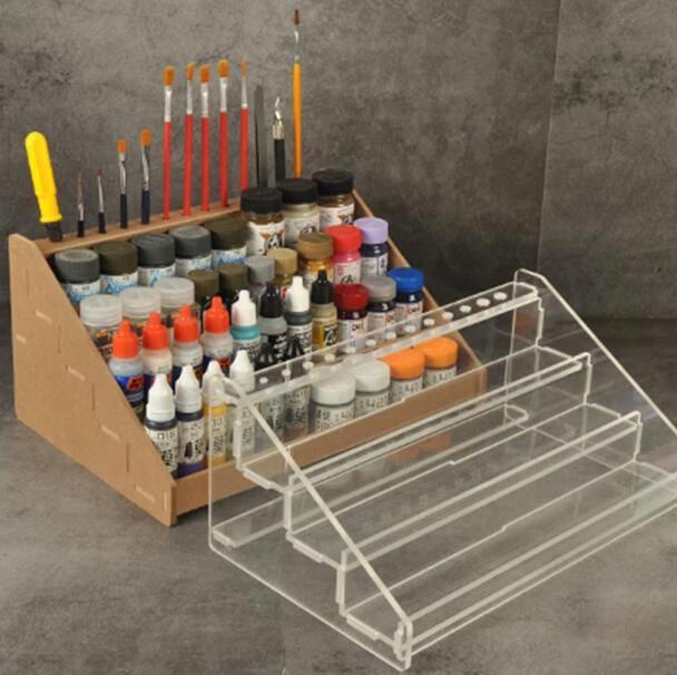 multifunction clear acrylic enamel paint rack household paint tool holder storage shelf for tamiya mini 4wd racing car model