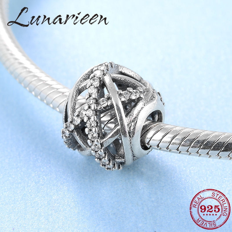 New 925 Sterling Silver Fashion Hollow Cross Zircon Round DIY Beads Fit Original Pandora Charm Bracelet Jewelry Making