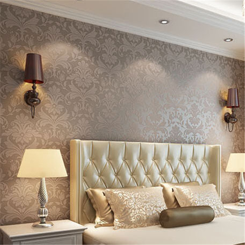 beibehang metallic brown damask non woven wallpaper for walls 3 d living room TV background mural wall paper papel de parede 3d