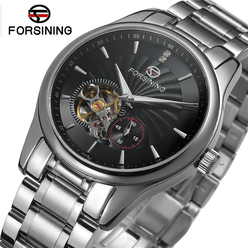 Forsining Top Brand Man Watches Automatic Hollow Out Mechanical Watch Wristwatch Gift Box Free Ship k colouring women ladies automatic self wind watch hollow skeleton mechanical wristwatch for gift box