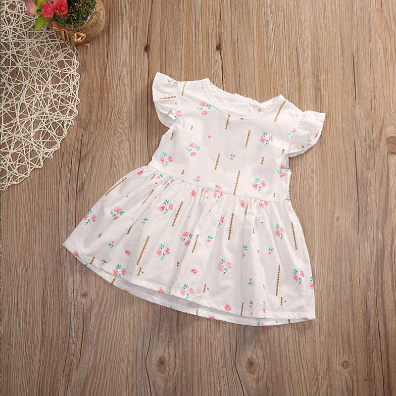 99372691458 ... 2018 New Baby Girl Summer Dresser Ruffles Sleeve Cotton Clothes Cute  Bebes Heart Princess Girls Party ...