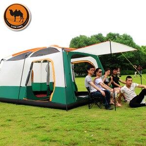 Image 4 - Samcamel 8 12 osoba jedna sala dwie sypialnie dwuwarstwowy namiot wodoodporny duży altanka Carpas De Camping