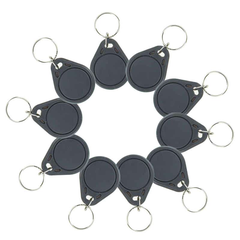 10pcs RFID keyfobs I3.56 MHz IC keychains NFC tags ISO14443A MF Classic® 1k nfc tags smart keycard token grey color new design rfid ic keyfobs i3 56 mhz keychains nfc key tags iso14443a rfid mf classic 1k tag for smart access control system