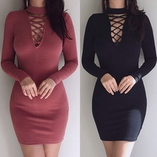 2017 mode Herbst Tragen Frauen Verband Bodycon Langarm Sexy Party Cocktail Bleistift Minikleid