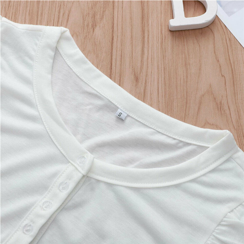 Fashion new women 39 s shirt V neck ruffled lace button white Slim shirt casual T shirt in T Shirts from Women 39 s Clothing