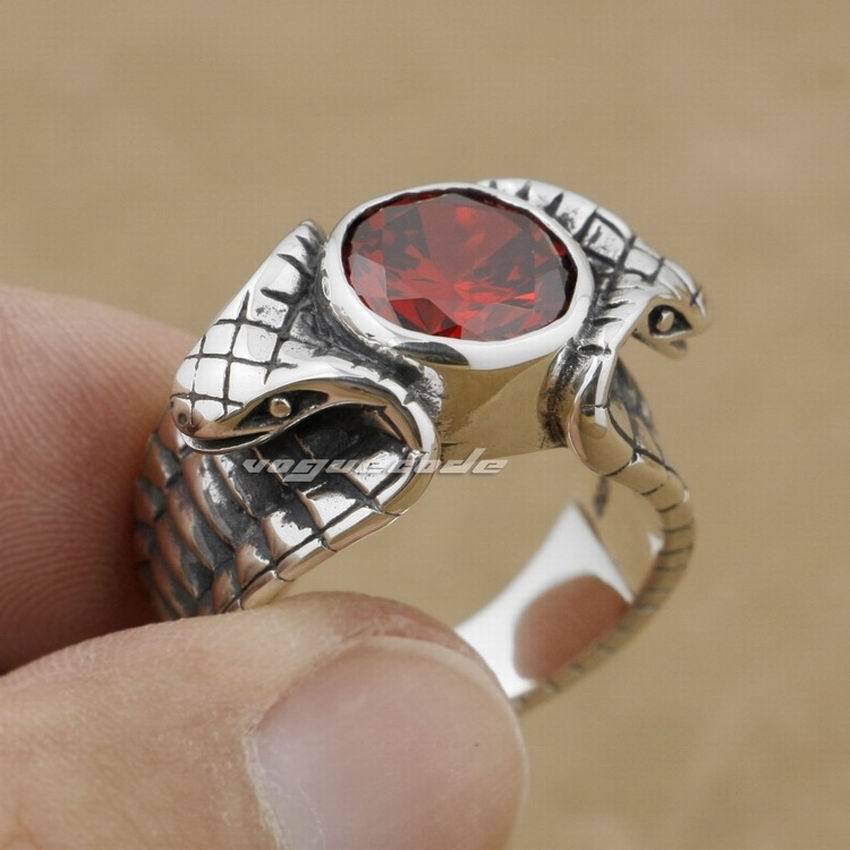 LINSION 925 Sterling Silver Red CZ Stone King Cobra Snake Ring Fashion Biker Rock Punk Style 9K008 US Size 6.5 to 13LINSION 925 Sterling Silver Red CZ Stone King Cobra Snake Ring Fashion Biker Rock Punk Style 9K008 US Size 6.5 to 13