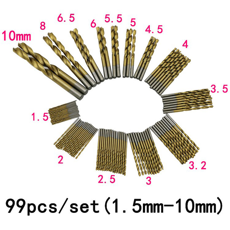 Высококачественные высококачественные высокоскоростные стальные сверла с титановым покрытием, набор инструментов 1,5 мм-10 мм, 99 шт./компл.
