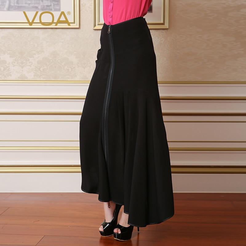 VOA 2018 letní nové hedvábné pevné otakárek sukně módní černá plus velikost ženy oblečení volný příležitostné Maxi sukně vestido C7682