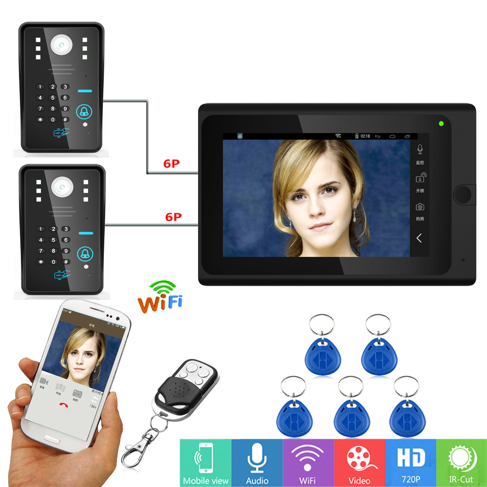 Mountainone 7 inch Two to One Wired Wireless Wifi RFID Password Video Door Phone Doorbell Intercom 1000tvl Cameras Remote APP