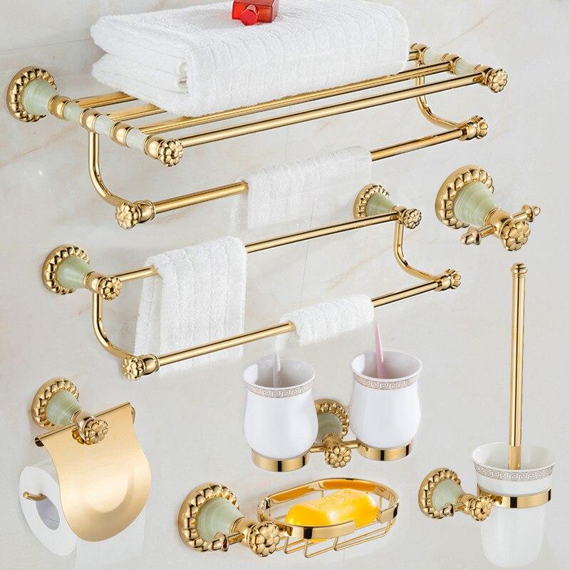 Acessórios do Banheiro Conjunto de Cobre Papel do Banheiro Conjunto de Ferragens Jade Toalheiro Toalha Barra Robe Gancho Saboneteira Suporte Ouro Terminado &