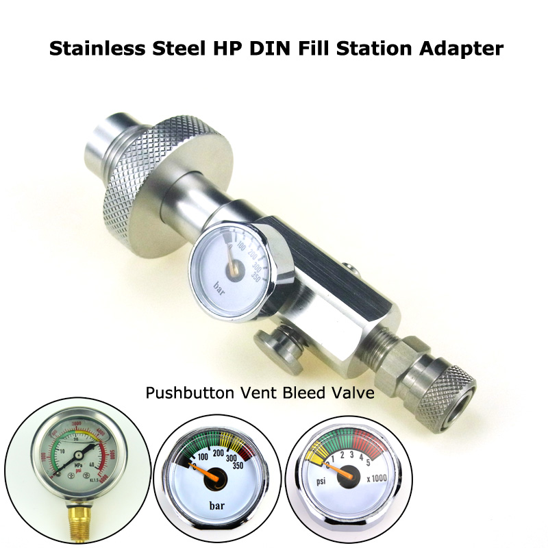 New Paintball Air Gun Airsoft PCP Stainless Steel HPA DIN G5/8 Scuba Fill Station Charging Adapter With 350Bar/5000Psi Gague