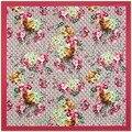 130 cm * 130 cm denim pesado G gerânio flor grande praça lenços de seda lenços