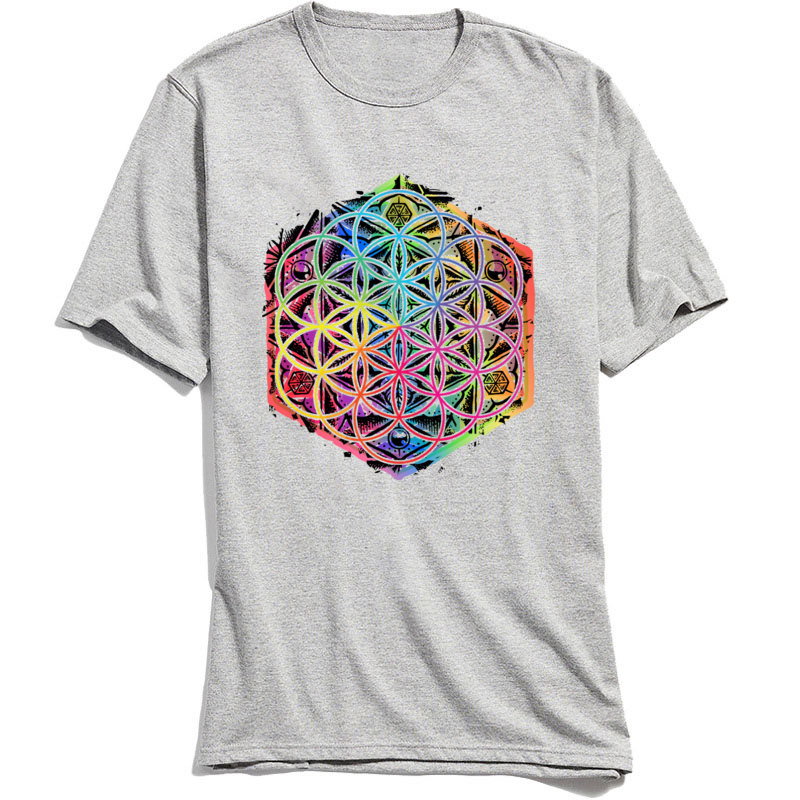 Printed Gift Summer Autumn All Cotton O Neck Men's Tops & Tees Design Tee-Shirts Fashion Short Sleeve T Shirts Sacred Geometry Flower of Life Mandala Color 1 grey