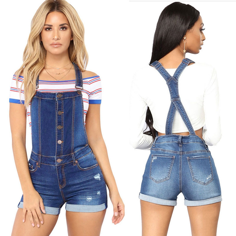Short denim overalls women Hole Short   jumpsuit   high waist casual jeans playsuit washed Salopette Straps 2019 summer jeans romper