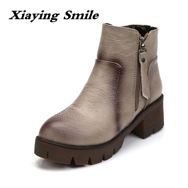 Xiaying Smile Winter British Style Women Boots Antieskid Heels Ankle Zipper Boots Round Toe Shoes Fashion Warm Plush Boots xiaying smile woman pumps shoes women spring autumn wedges heels british style classics round toe lace up thick sole women shoes