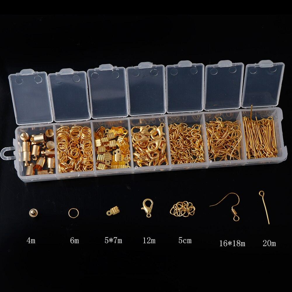 Комплект аксессуаров для ювелирных изделий, золотистые/Серебристые открытые штифты-кольца, застежки-карабины, крючки, Концевики, застежки, ...