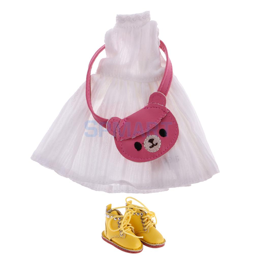 Dress up diary baju pelaut - 1 6 Doll Cute Sleeveless Dress Pink Shoulder Bag Pu Leather Lace Up