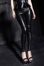 2016 Direct Selling Top Solid Mid Faux Leather Knitted Leggings Fitness Shining Stretch Leggings K 143