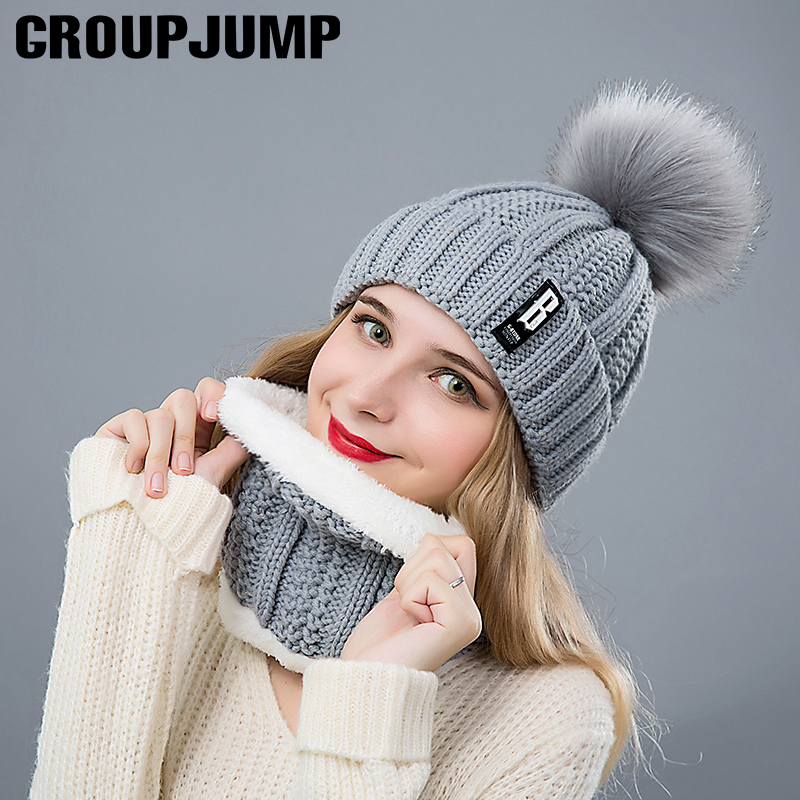 Fashion Winter Hat&Scarf Set For Women Girls Warm Beanies Ring Scarf Pompoms Winter Hats Knitted Caps And Scarf 2 Pieces/Set