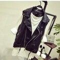Новый 2016 Женщины Горячие Продажа ПУ кожа кратко параграф ma3 jia3 Мода Европейский женщины повседневная локомотив короткий жилет пальто
