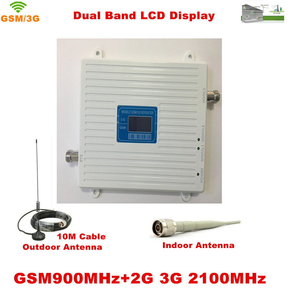 LCD Display !!! GSM 900Mhz W-CDMA UMTS 2100MHz Dual Band Cell Phone Signal Booster 2G 3G Signal Repeater with Antenna Full SetLCD Display !!! GSM 900Mhz W-CDMA UMTS 2100MHz Dual Band Cell Phone Signal Booster 2G 3G Signal Repeater with Antenna Full Set