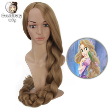 110cm Princess Tangled Rapunzel Long Braiding Hair Blonde Cosplay Wig Anime Costume Party Synthetic Wigs for Women Girls new women princess rapunzel wig halloween role play tangled gold long wig