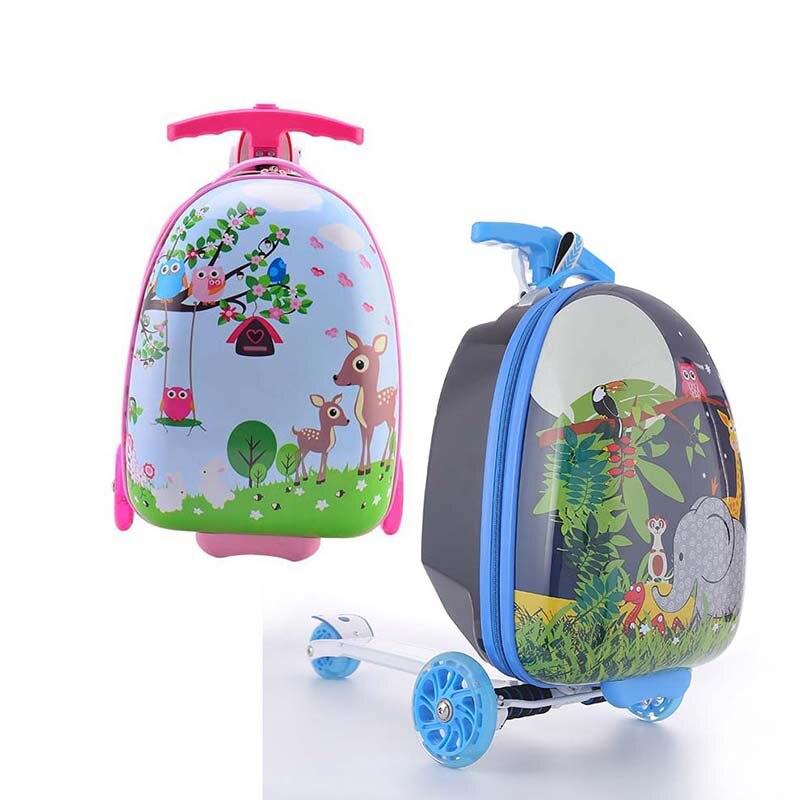 LeTrend Cute Cartoon Children Skateboard Rolling Luggage Spinner Suitcase Wheels Students Multifunction Trolley Kids Travel Bag