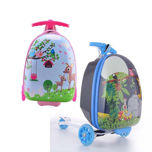 LeTrend Cute Cartoon Children Skateboard Rolling Luggage Spinner Suitcase Wheels Students Multifunction Trolley Kids Travel Bag