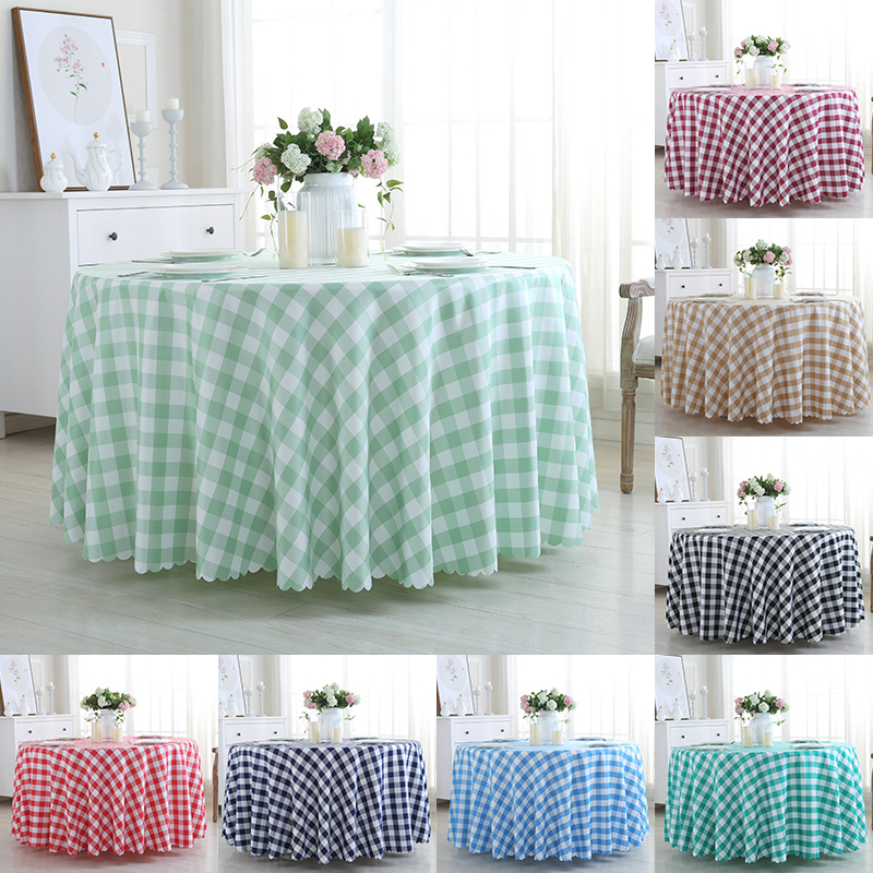 Polyester Waterproof Round Tablecloth Black White Blue Red Kitchen