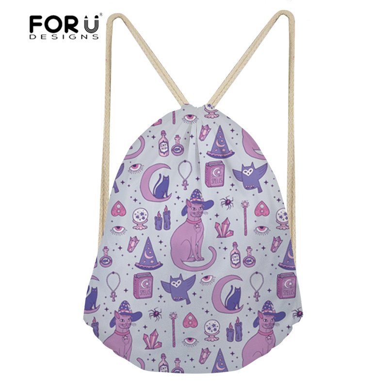 Us 7 69 45 Off Forudesigns Gym Bag For Women Fitness Cute Mystical Cats Printing Outdoor Drawstring Small Yoga Sport Bags S Backpacks In