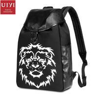 UIYI Fashion Brand Women Men Charm Black PVC Leather Zipper Student Laptop Multilayer Lion Pattern Knapsack