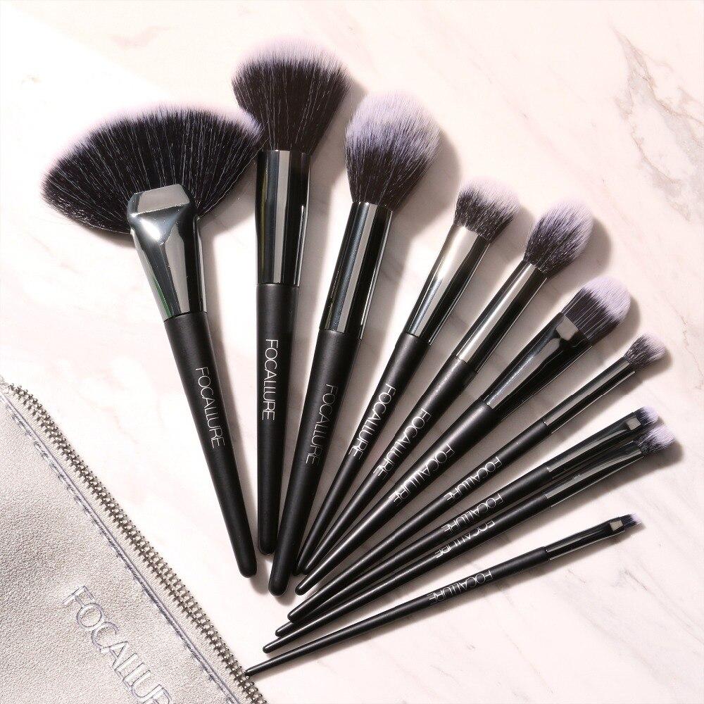 FOCALLURE 10 unids/set pinceles de maquillaje profesional Kit de sombra de ojos cepillo de La Fundación cepillo herramientas