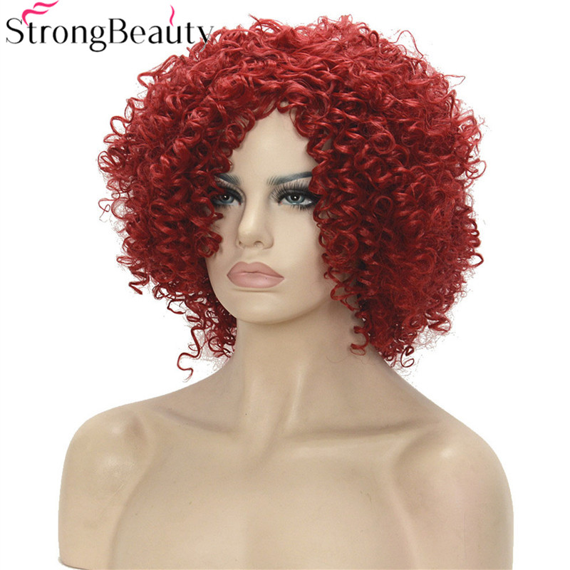 Strong Beauty Short Kinky Curly Synthetic Wig Women Full Heat Resistant Wigs 4 Colors