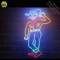 Cowboy Custom Neon Sign Smoke neon bulb Sign lights Real glass Tube Beer Bar Pub Handcraft Iconic Sign Neon Bulbs lights Art