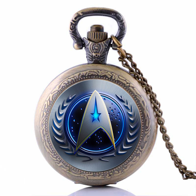 Hot Sell Drop Shipping Style Star Trek Theme Pocket Watch With Necklace Chain Hi