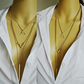 New Hot  Sale Sexy Multi Layer Chain Necklace Geometric Triangle Three Layered Chain Initial Necklace for Women