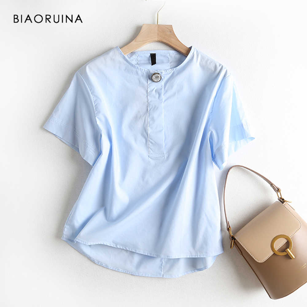 BIAORUINA Women Casual Straight All-match T-shirt Short Sleeeve O-neck Female Fashion Tees Girls Summer Loose Fashion Tops