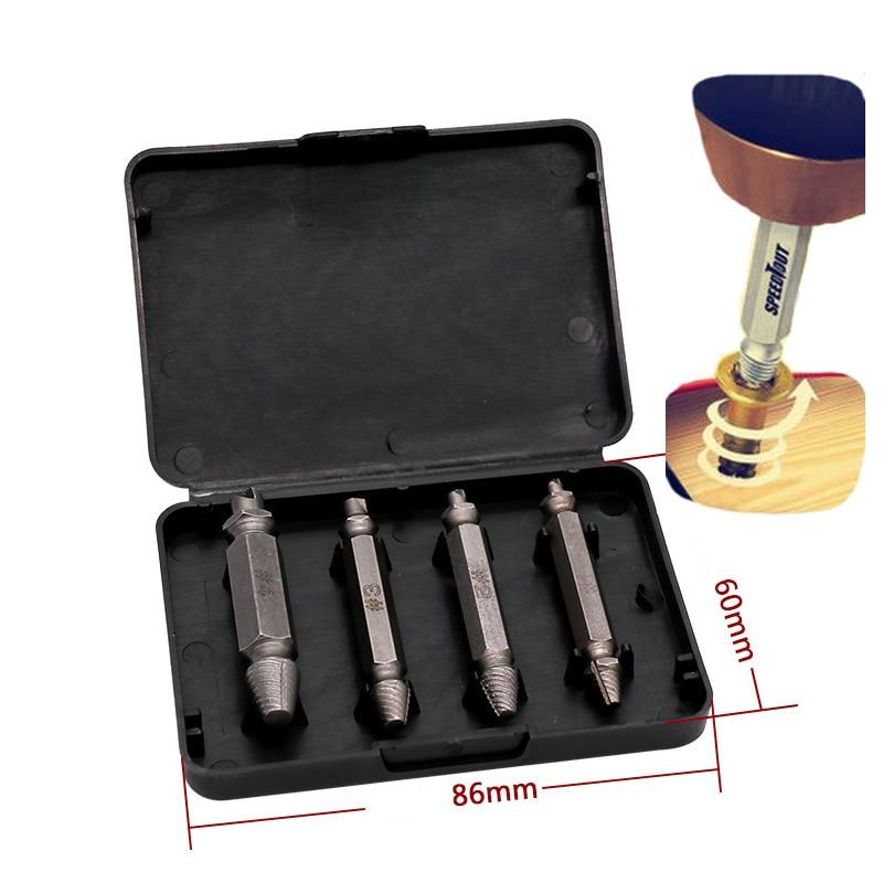 4 stks Carpenters Schroef & Bout Extractor Gids Boor Verwijderen Gebroken Bouten Easy Out Double Side Bolt Stud Schroef Remover Extractors