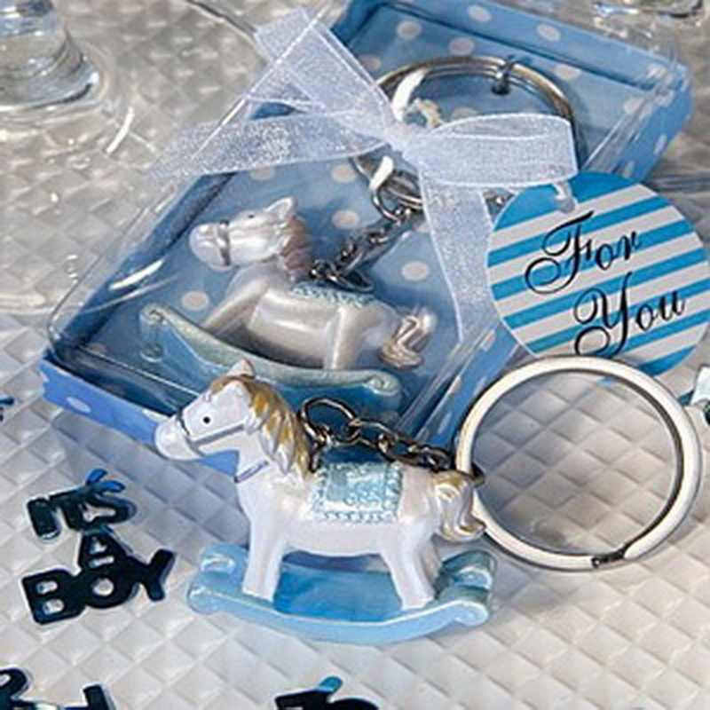 30PCS Baby Shower Favors and Gift Blue Rocking Horse Keychain Baby Baptism Gift Birthday Party Giveaway