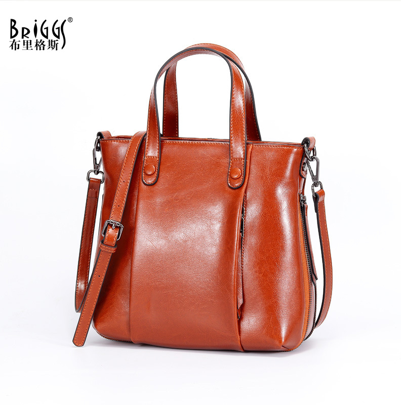 BRIGGS Brand Women Handbag Genuine Leather Tote Bag Female Vintage Oil Wax Leather Shoulder Bags Ladies Handbags Messenger Bag neverout oil wax style split leather bag for women vintage boston bag shoulder sac 3 color handbags tote zipper tote new handbag