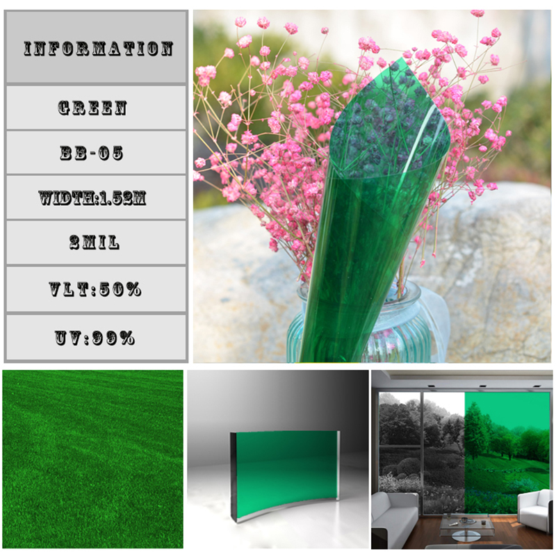 50% Green Decorative Foils Window Stickers 60'x33'/Roll home building car window auto accessories chameleon sticker 30m 1 52m functional car pvc red copper color stickers home decorative films stickers