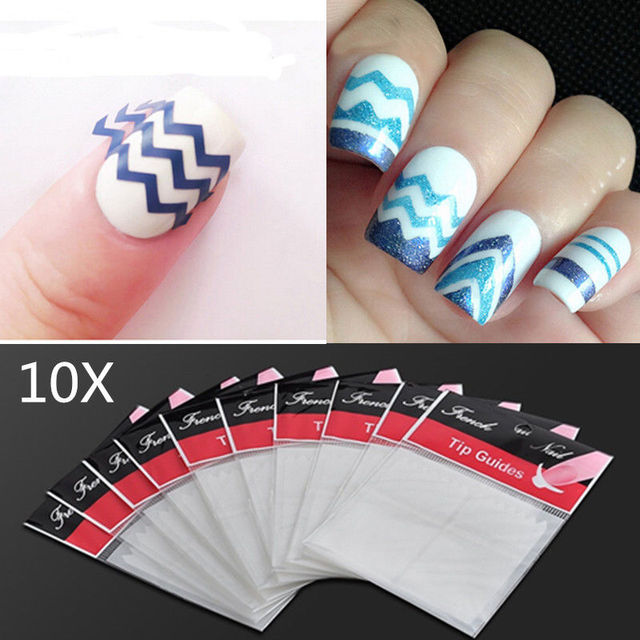 10 Bags White Zig Zag Stencils Nail Art French Guide Tips Stickers