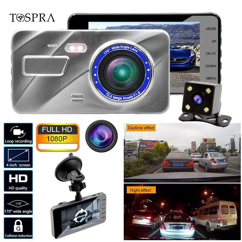TOSPRA Dash Cam Dual Lens Car DVR Camera Full HD 1080P 4 IPS Front Rear Blue